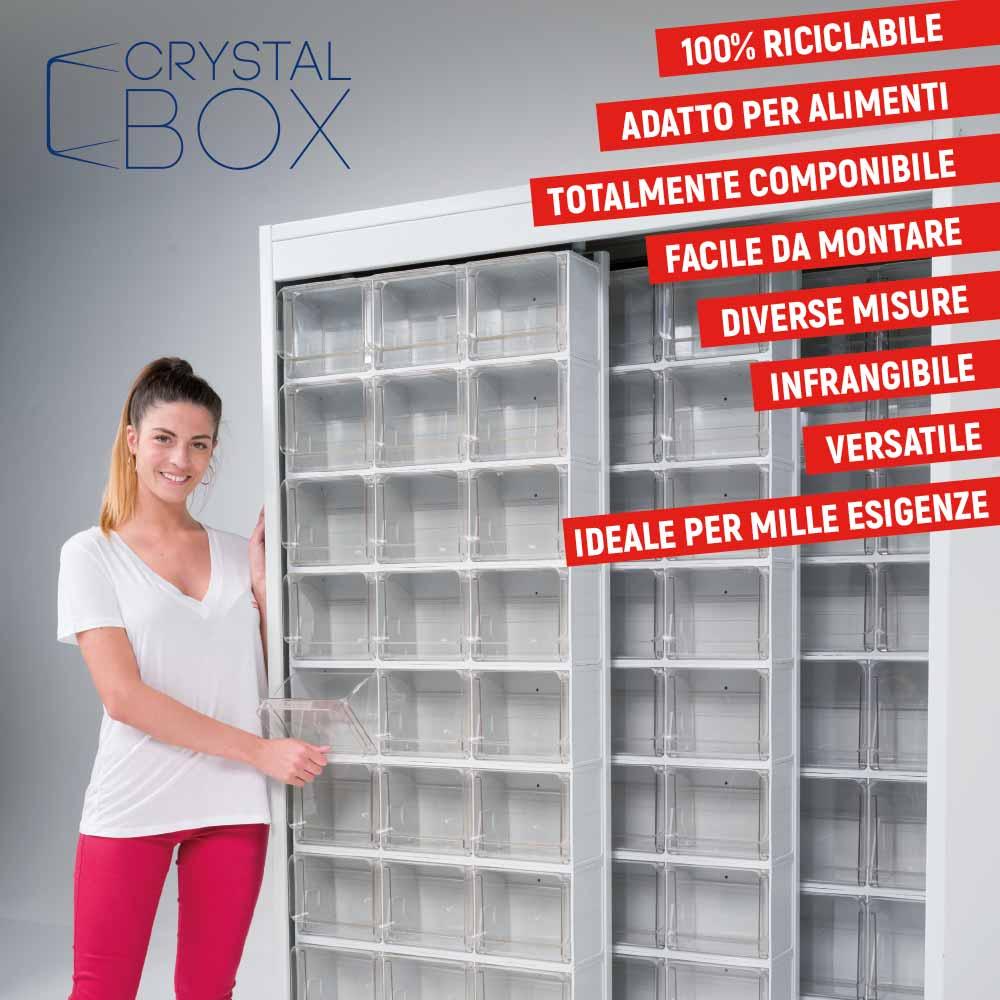 e.20 a fianco di Mobil Plastic per il lancio di Crystal Box.
